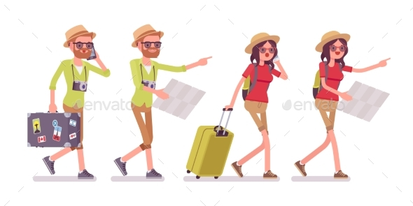 GraphicRiver Tourist Man and Woman Walking with Map 20390195