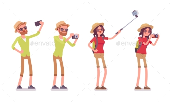 GraphicRiver Tourist Man and Woman Taking Pictures 20390196
