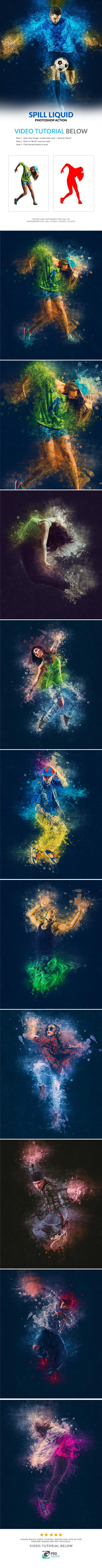 GraphicRiver Spill Liquid Photoshop Action 20390199
