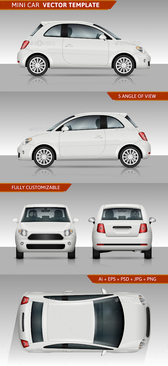 Mini car Vector template - Man-made Objects Objects