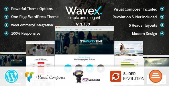 WaveX - One Page Parallax WordPress Theme - Creative WordPress
