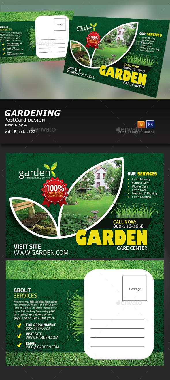 Garden Landscape Postcard - Cards & Invites Print Templates