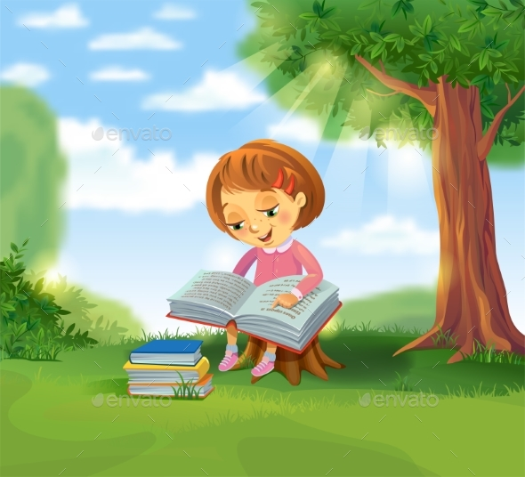 GraphicRiver Girl Reading Book 20390280