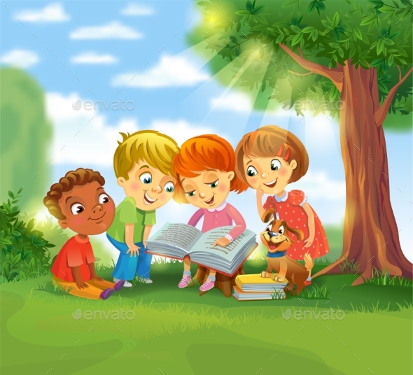 GraphicRiver Children Reading Books 20390286
