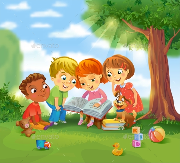 GraphicRiver Children Reading Books 20390289