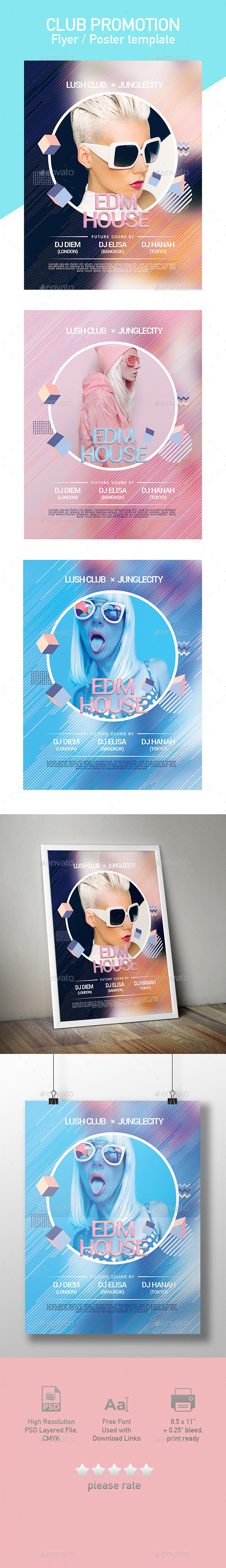 Modern Minimalist Club Flyer / Poster Template - Clubs & Parties Events
