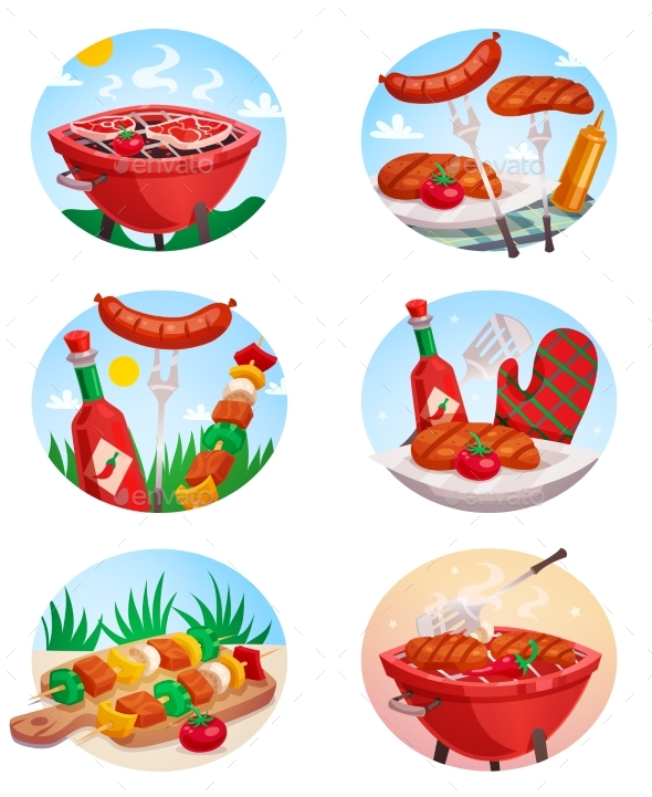 BBQ Grill Stickies Set - Food Objects