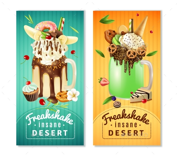 Extreme Freakshake Insane Dessert  Banners Set - Food Objects