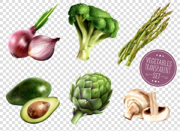 Vegetables Transparent Set - Objects Vectors