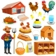 Poultry Farm Elements Set