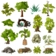 Trees Plants Landscape Gardening Elements - GraphicRiver Item for Sale