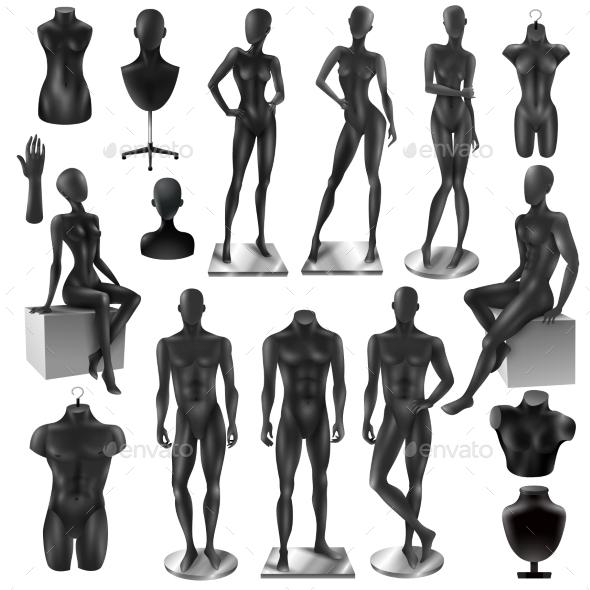 Mannequins Men Women Realisyic Black Set - Miscellaneous Vectors