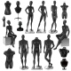 Mannequins Men Women Realisyic Black Set - GraphicRiver Item for Sale