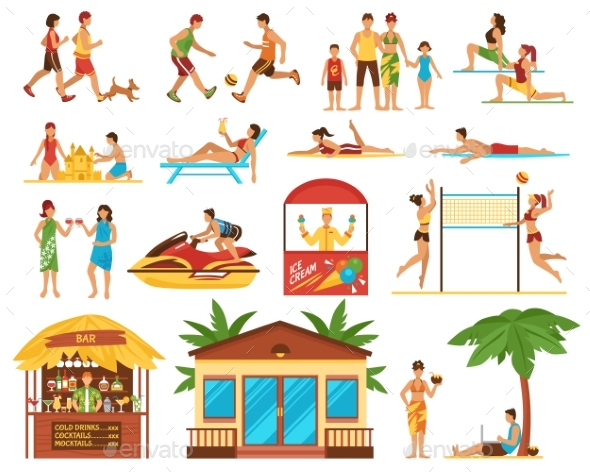 GraphicRiver Beach Activities Decorative Icons Set 20390585