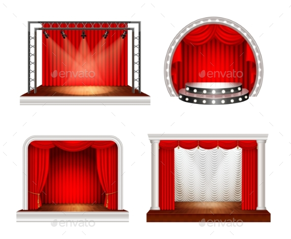 Realistic Stage Design Set - Objects Vectors