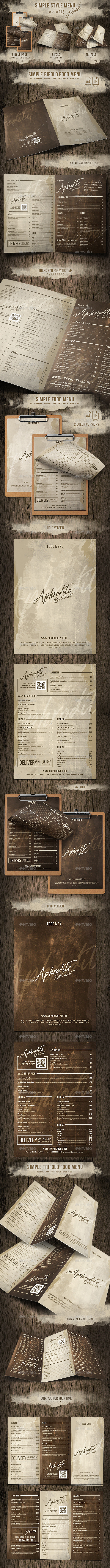Simple Style Menu Pack (Single - Bifold - Trifold) - Food Menus Print Templates