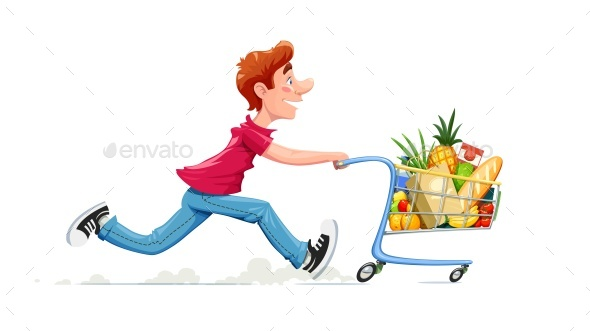 GraphicRiver Running Boy with Product Cart Shopping in Supermarket 20391116