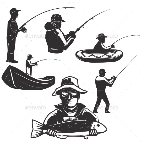 GraphicRiver Set of Fishermans Silhouettes 20391149