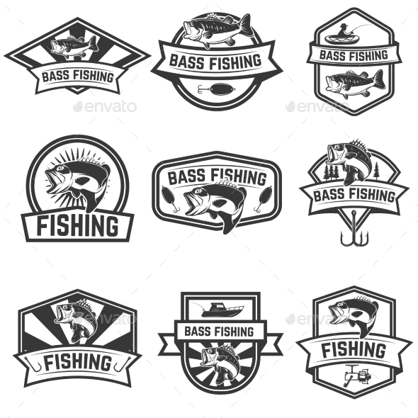 Set of Bass Fishing Emblem Templates - Sports/Activity Conceptual