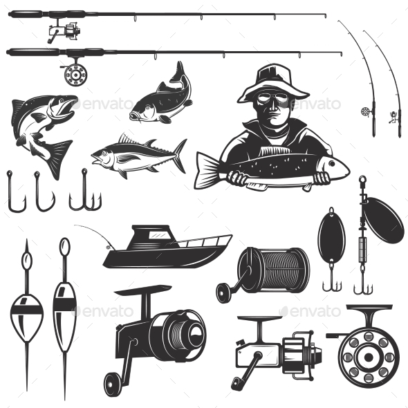 Set of Fishing Design Elements - Miscellaneous Vectors