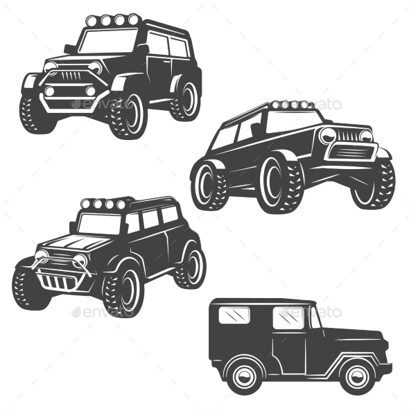 Set of Off Road Car Icons - Man-made Objects Objects