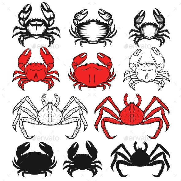 Set of the Crabs Icons on White Background. - Animals Characters