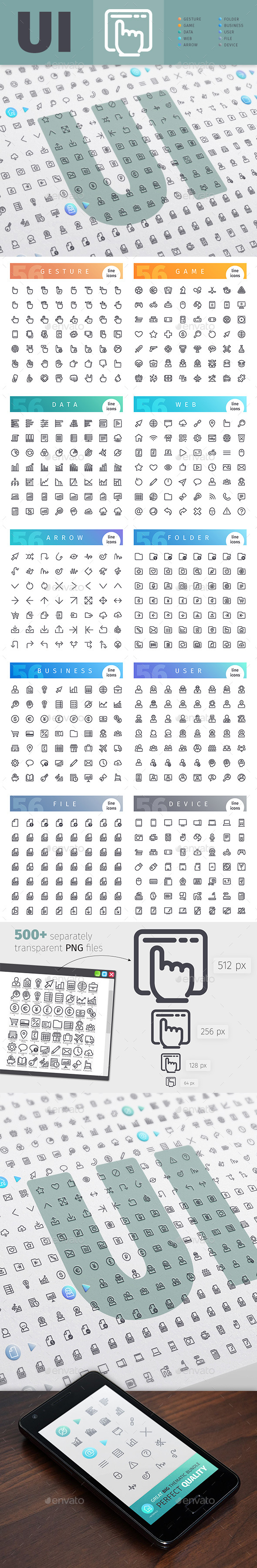GraphicRiver User Interface Thematic Collection of Line Icons 20390391