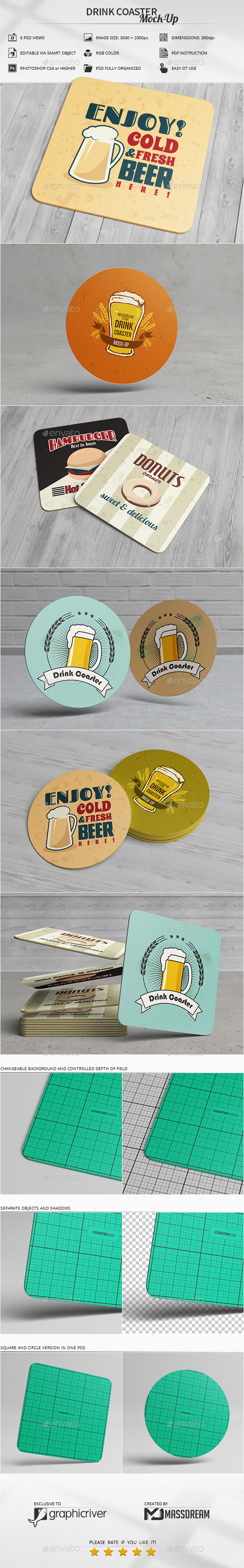 Drink Coaster Mock-Up - Product Mock-Ups Graphics