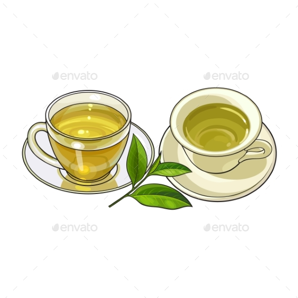 GraphicRiver Porcelain Glass Mug Saucer Sets Green Tea Leaf 20391351