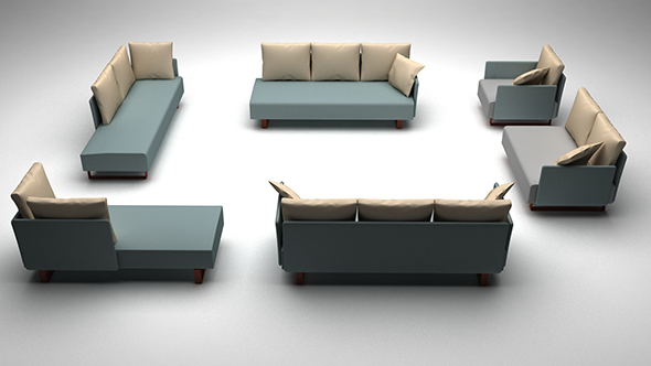 3DOcean Low poly sofa set 20391378
