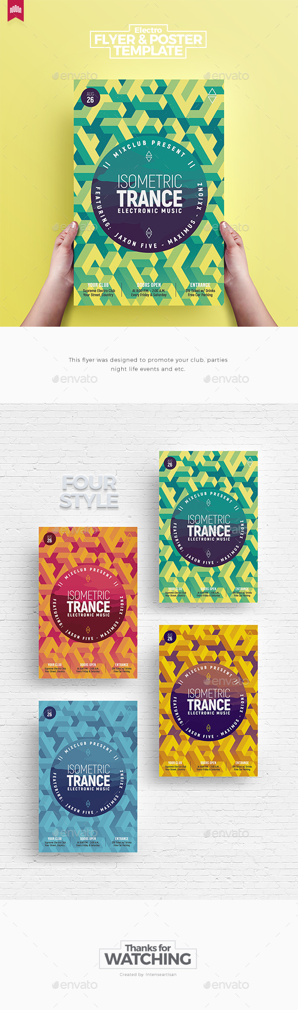 Isometric Trance - Flyer Template - Clubs & Parties Events