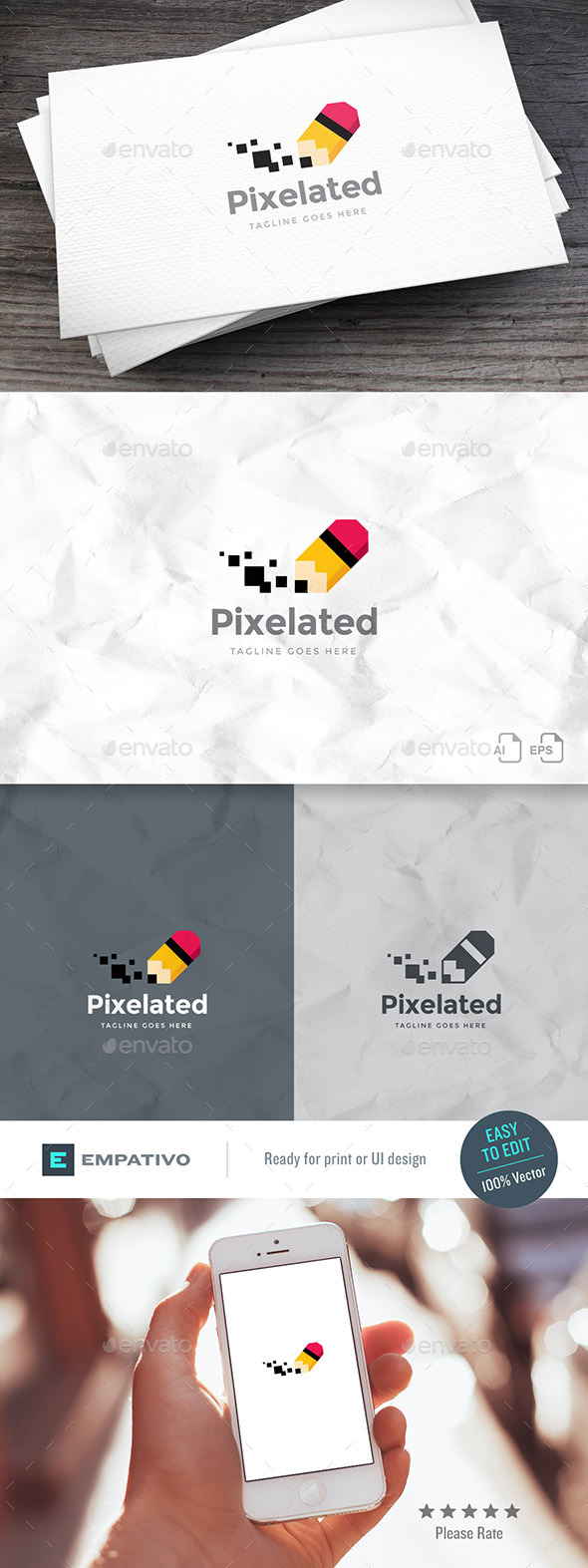 GraphicRiver Pixel Pencil Logo Template 20391495