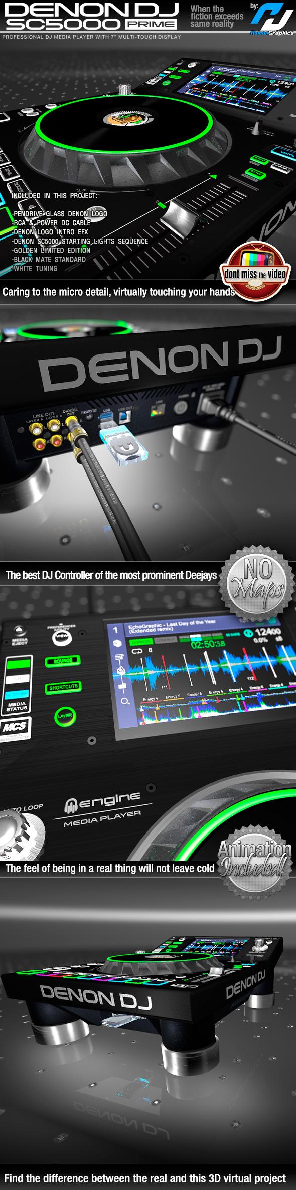 Denon SC5000 Prime - Pro. DJ Media Player, in 3 different skins - 3DOcean Item for Sale
