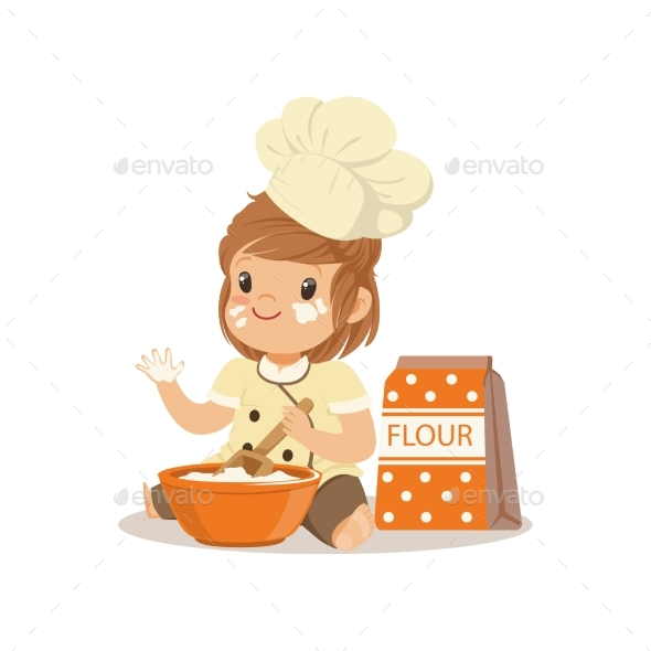 GraphicRiver Smiling Little Girl Chef with Bowl and Whisk 20391748