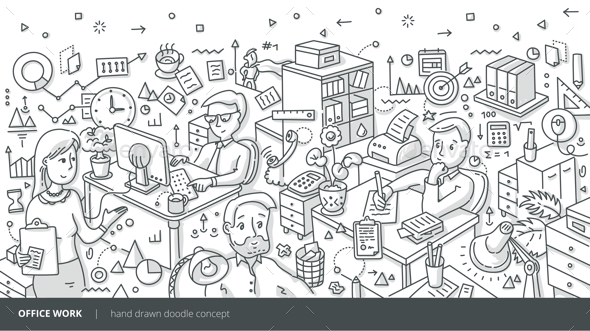 Office Work Isometric Doodle Concept - Concepts Business