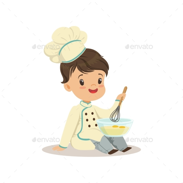 Little Boy Chef with Mixing Bowl and a Whisk - Food Objects
