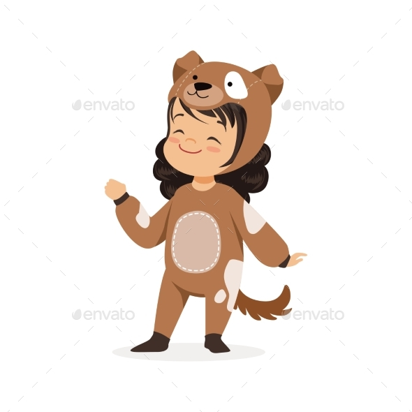 Little Girl Dressed as a Brown Puppy - Animals Characters