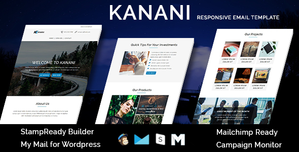 KANANI - Multipurpose Responsive Email Templates with Stamp Ready Builder Access
