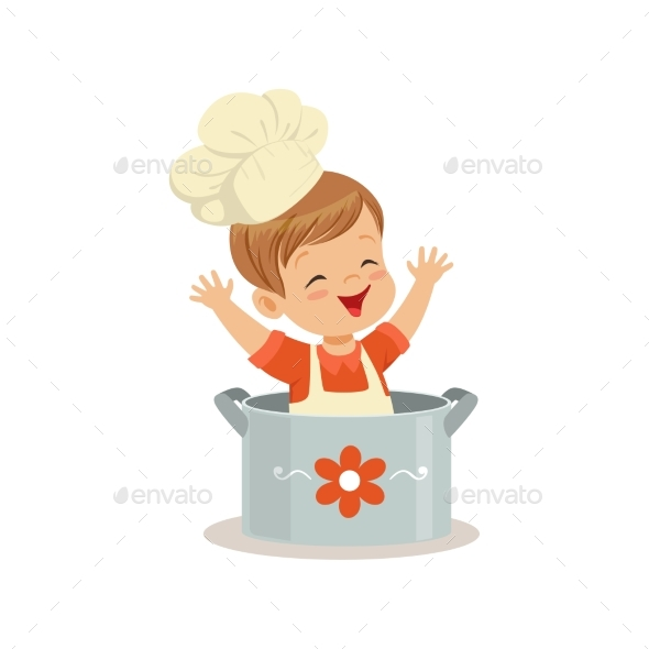 Boy Chef Sitting in the Pot Vector - People Characters
