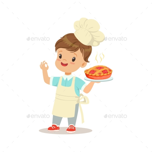 GraphicRiver Little Boy Holding a Freshly Cooked Pie 20391807