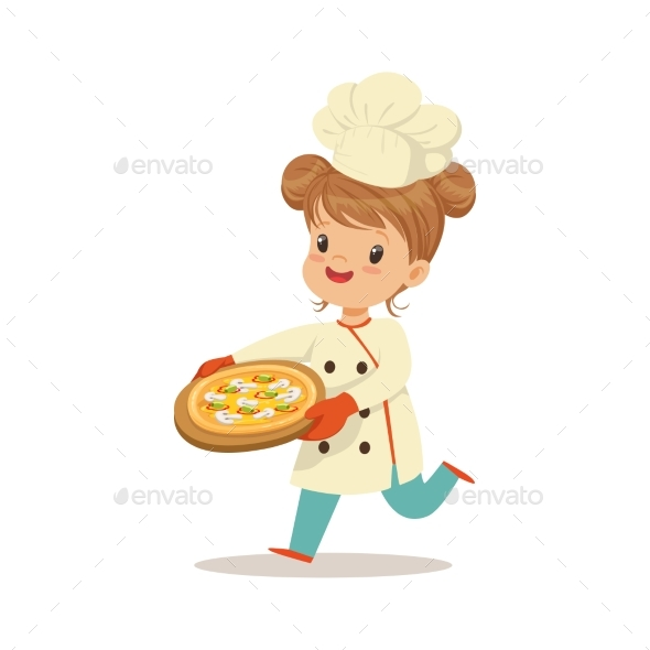 Girl Running with a Freshly Cooked Pizza - People Characters