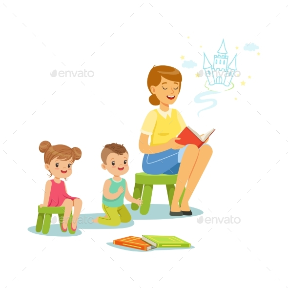 GraphicRiver Teacher Reading a Fairytale to Kids in Preschool 20391824