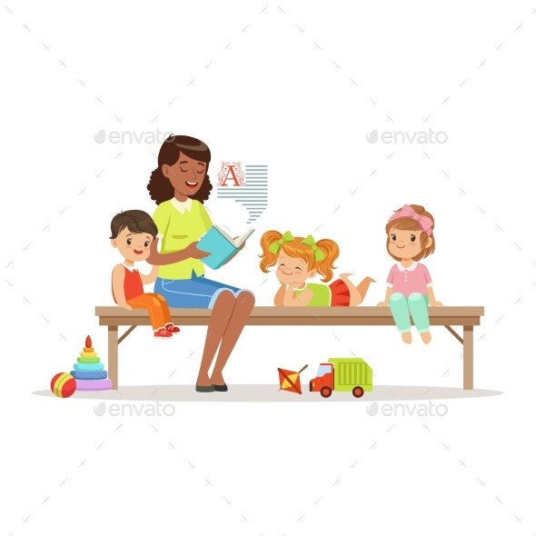 Teacher Reading a Book to Kids While Sitting - People Characters