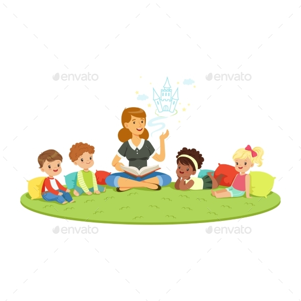 Teacher Reading a Fairytale to Kids While Sitting - People Characters