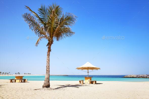 Summer beach landscape, Dubai, UAE.