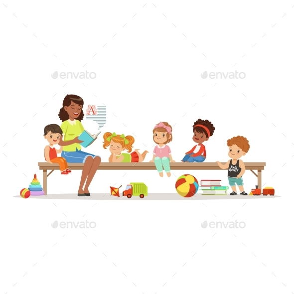 Teacher Reading a Book to Kids While Sitting - Miscellaneous Vectors