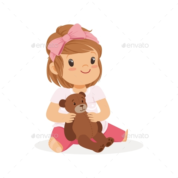 Girl Playing with Teddy Bear - People Characters