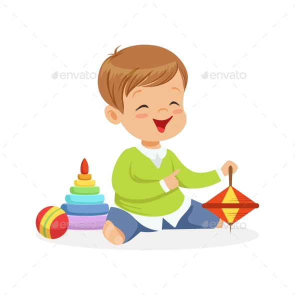Boy Sitting on the Floor with Toys - People Characters
