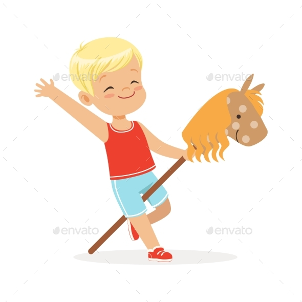 Boy Riding on Wooden Stick Horse - People Characters