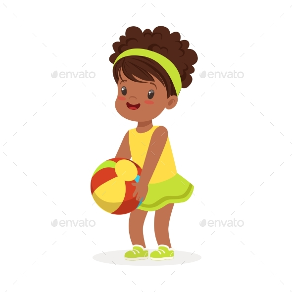 Girl in an Yellow Dress Playing - People Characters